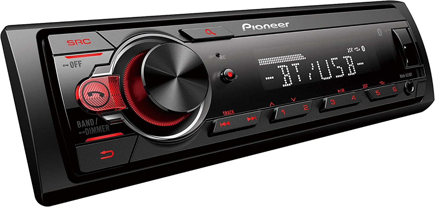 Pioneer MVH-S21BT Stereo Single DIN Bluetooth In-Dash USB MP3 Auxiliary AM//FM Android Smartphone Compatible Digital Media Car Stereo Receiver With Free ALPHASONIK Earbuds