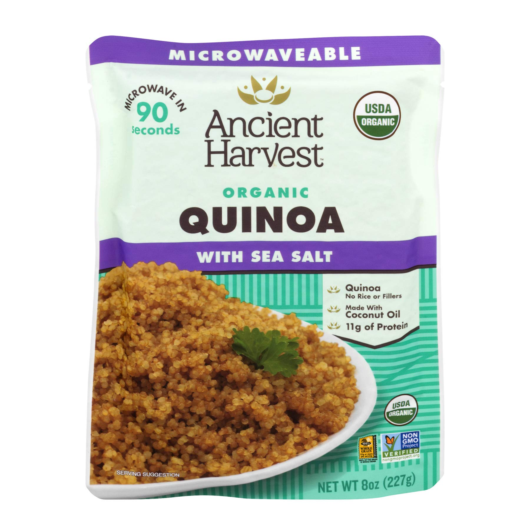 Ancient Harvest Certified Organic Microwavable Quinoa Pouch, Quinoa With Sea Salt, 8 oz (Pack of 12) by Ancient Harvest