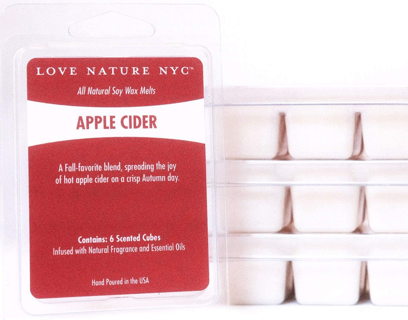 LOVE NATURE NYC Natural Soy Wax Melts, (3 Pack), Apple Cider Scented, Non-Toxic, 18 Cubes, for use in Tea Light or Flameless Plug in Electric Fragrance Warmers for Tarts, Oils and Candle Wax