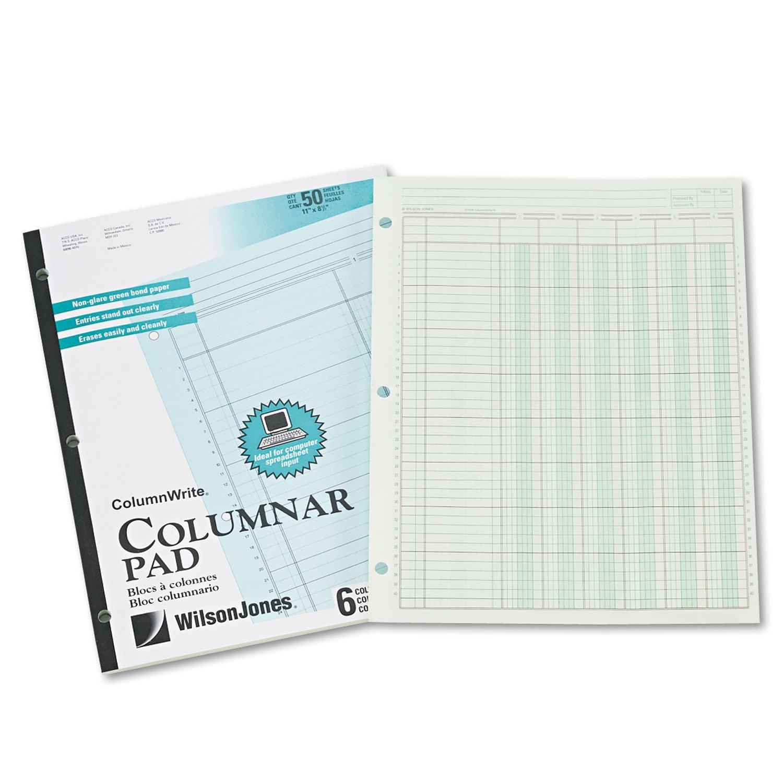 Contabilità Pad, sei six-unit colonne, 8–1/2x 11, 50fogli pad 8-1/2x 11 Wilson Jones WLJG7206A