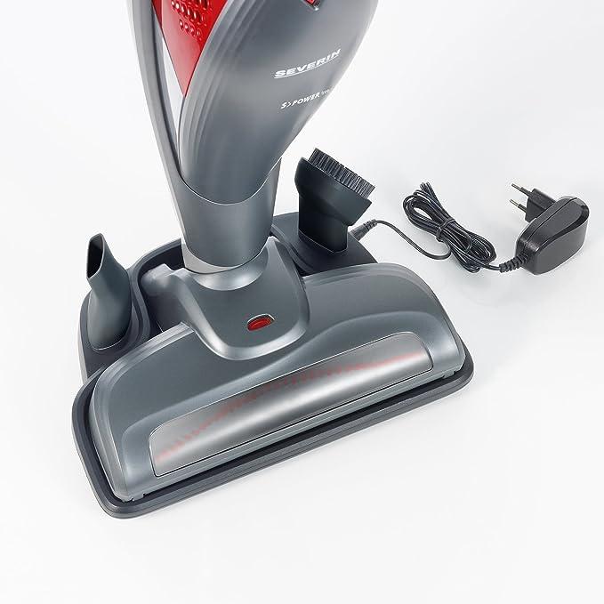 Severin SC 7171, Aspiradora Manual y de Mango con Cepillo motorizado, 14.4 V, Incluye Cabezales de Juntas y Muebles, S´Power Free, Gris/Rojo: Amazon.es: Hogar