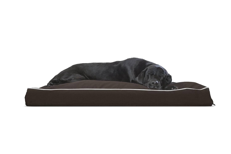 FurHaven Pet Dog Bed   Deluxe Polycanvas Indoor Outdoor Water-Resistant Pillow Pet Bed for Dogs & Cats, Espresso w Cream Trim, Jumbo
