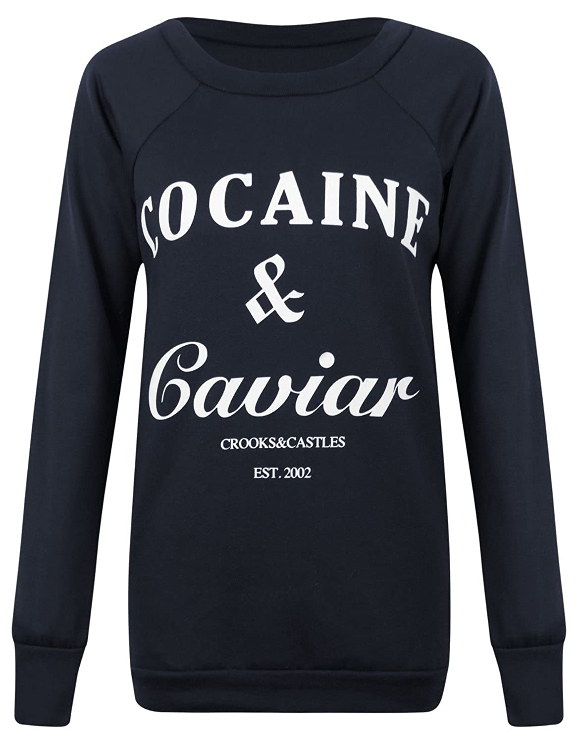 Fast Fashion Damen Sweatshirt Geek Brooklyn Boy Cocaine Druck