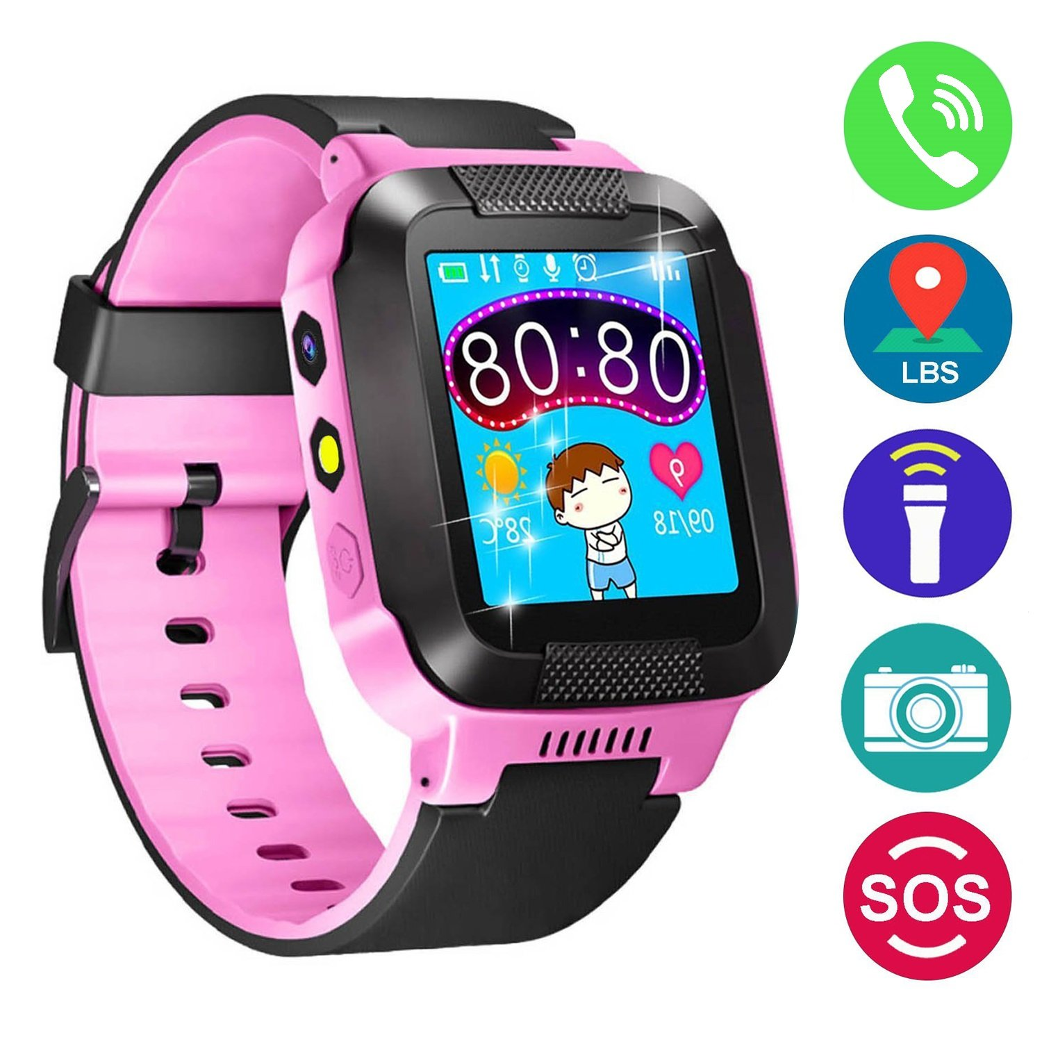 Kids Smartwatch with Camera, Effeltch Smart Watch with GPS Tracker Anti-Lost SOS Watch for Girls Boys Children SmartWatch for iPhone Android ...