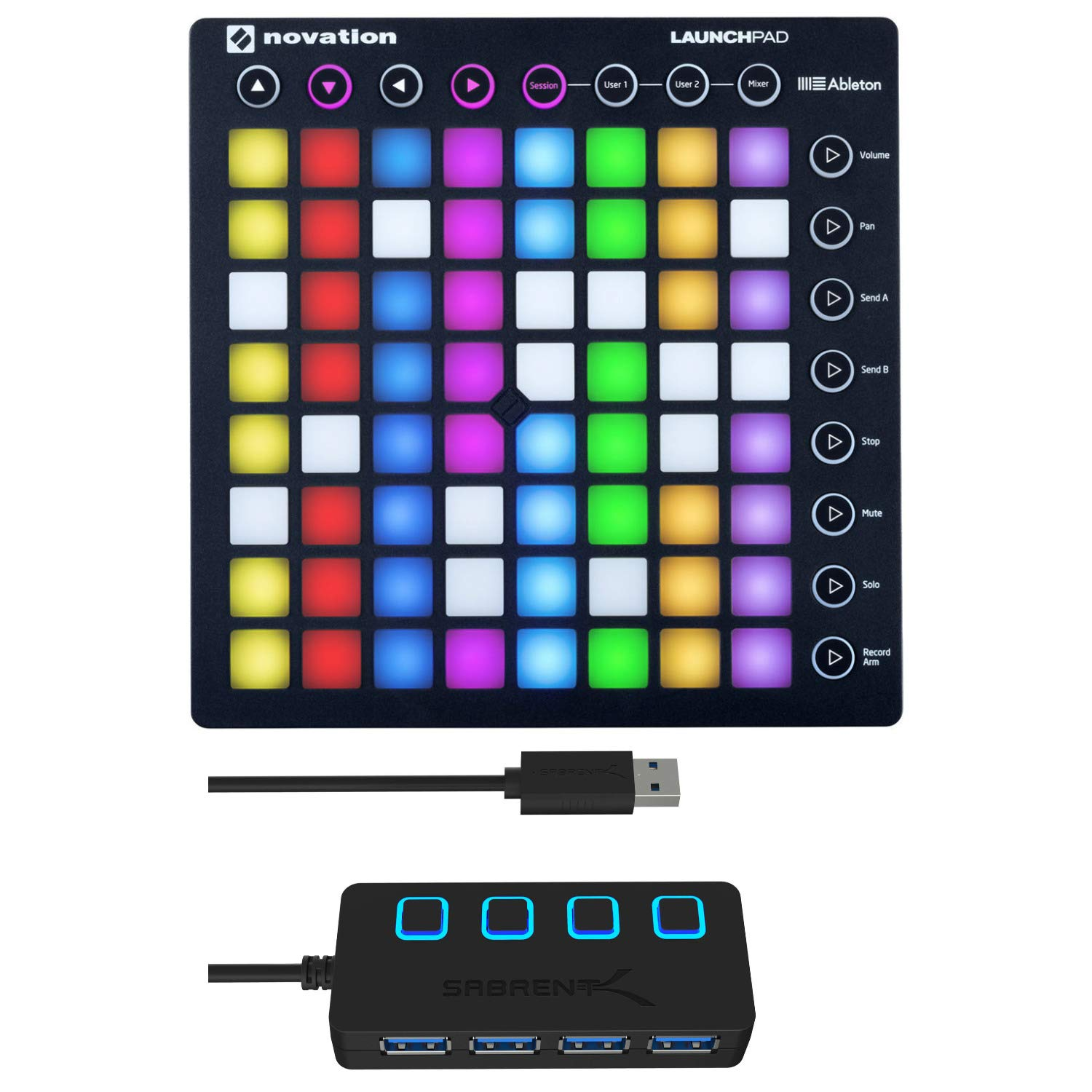 Novation Launchpad MK2 Ableton Live Controller with 4-Port 3.0 USB HUB by Novation