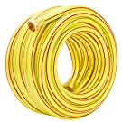 Homes Garden 100 ft. Garden Hose 5/8 inch Yellow Water Hose Commercial Brass Coupling Fittings for Household, Industrial 5 Years Warranty #G-H153A08