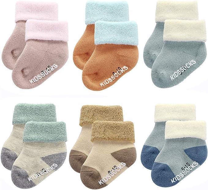 Fashion Cute Baby Boy Girl Thick Cotton Socks Newborn Infant Toddler Kids Soft Sock 4 Pairs Gift Set