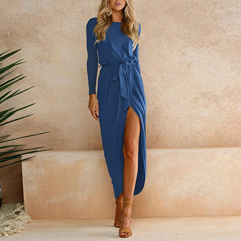 OverDose mujer Boho Long Maxi Dress Evening Party Full Solid OtoñO ...