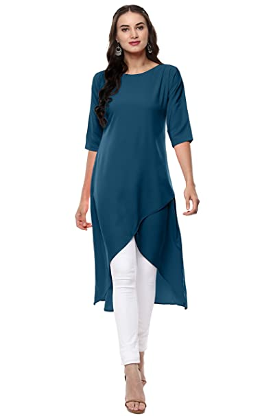 Janasya Women's Polyester Crepe Kurta Kurtas & Kurtis at amazon