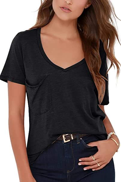 a168c9e5a1fb GOCHIC Women s Casual Short Sleeve V Neck T Shirts Plain Basic Tee Tops  with Pocket Black