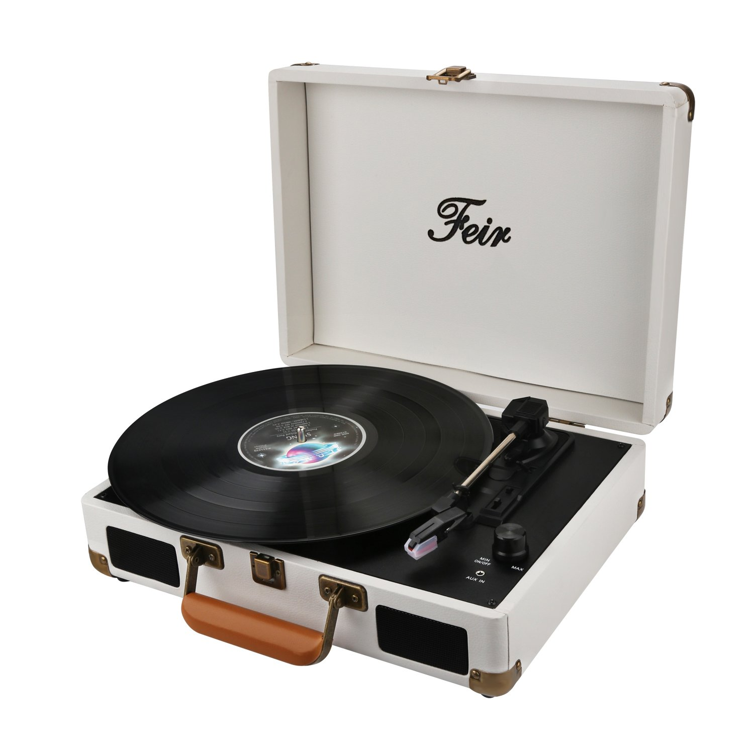 Vinyl Stereo White Record Player 3 Speed Portable Turntable Suitcase Built in 2 Speakers RCA Line Out AUX Headphone Jack PC Recorder by Feir