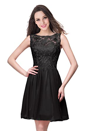 Babyonline Lace Chiffon Short Bridesmaid Dresses for Juniors Prom Gowns - Black -: Amazon.co.uk: Clothing