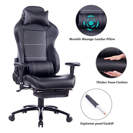 Fabulous Blue Whale Massage Gaming Chair With Footrest Matel Base Memory Foam Adjustable Backrest Reclining Pc Computer Video Gamer Chair Racing High Back Game Spiritservingveterans Wood Chair Design Ideas Spiritservingveteransorg