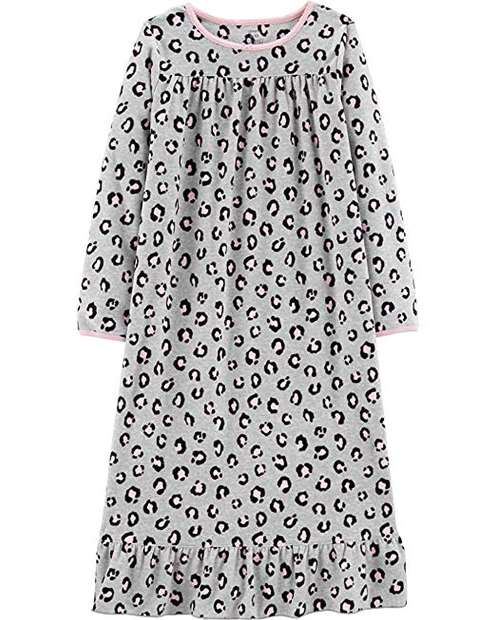 Gown Size 8-10 Carters Girls Gray and Pink Cheetah Print Fleece Nightgown