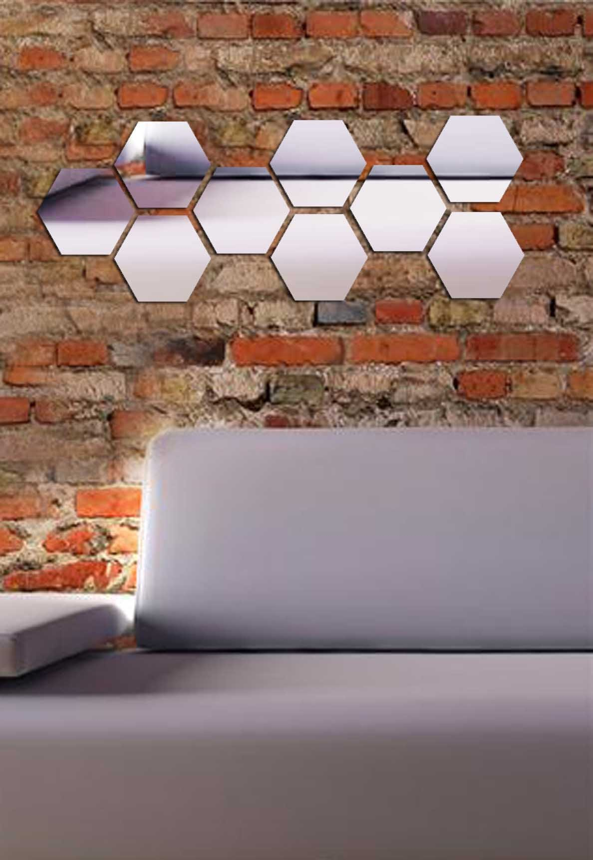 Decorative Removable Wall Sticker Mirror PLEXIGLASS (20.5'' x 7.9'') Number of Pieces 9 / Glass Modern Art Pattern Ornamental Design Beehive / Background Decoration Perfect Design For Home, Office, Room