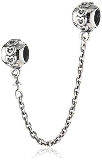 227dcfcfd Amazon.com: PANDORA Love Connection Safety Chain Charm, Sterling Silver, 2  IN: Jewelry