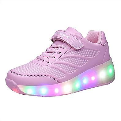 Kinder Schuhe mit Rollen Skateboard Schuhe Kinder mit Rollen Wheels Schuhe Skateboardschuhe Sneakers Turnschuhe Laufschuhe Sportschuhe mit Rollen für Mädchen Jungen Rosa 37 HVntnf