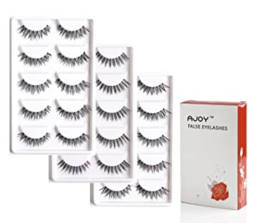 AJOY 15 Pairs Professional Fake Eyelashes Demi Wispies Multipack, Natural  Invisible Band Bulk Faux Strip