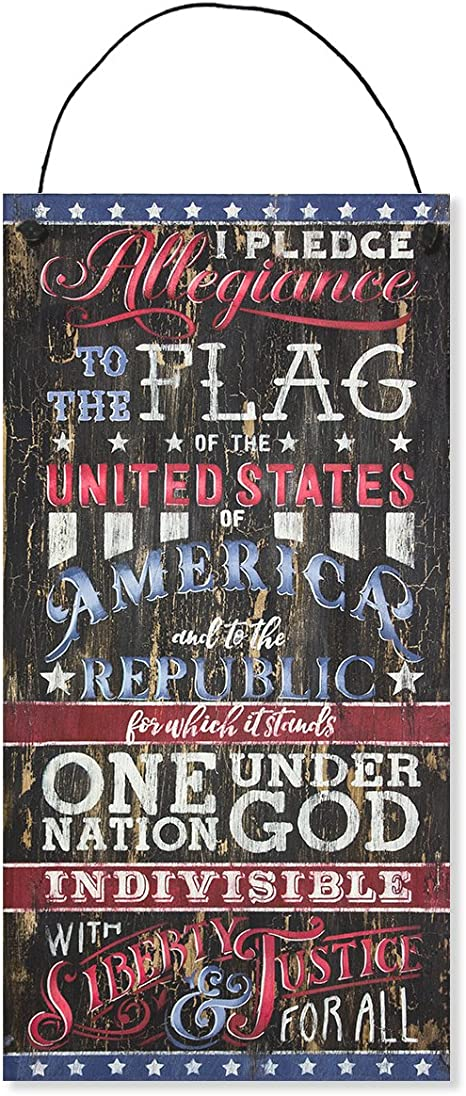 Amazon Com Pledge Allegiance Patriotic Weathered Look Sign By Studior12 15 X 7 5 Primitive Rustic Americana Porch Home Decor Art Red White And Blue Select Color Home Kitchen