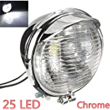 AUDEW Universel 12V 25LED Moto Avant Phare Lampe Headlight Chrome