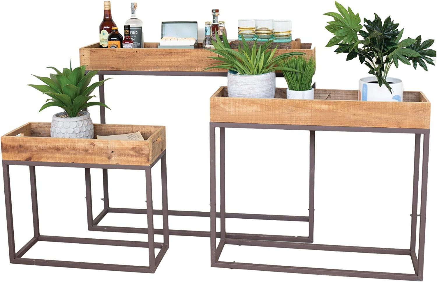MY SWANKY HOME Recycled Wood Console Tray Table Set Three Rustic Metal Base Serving Plant Stand