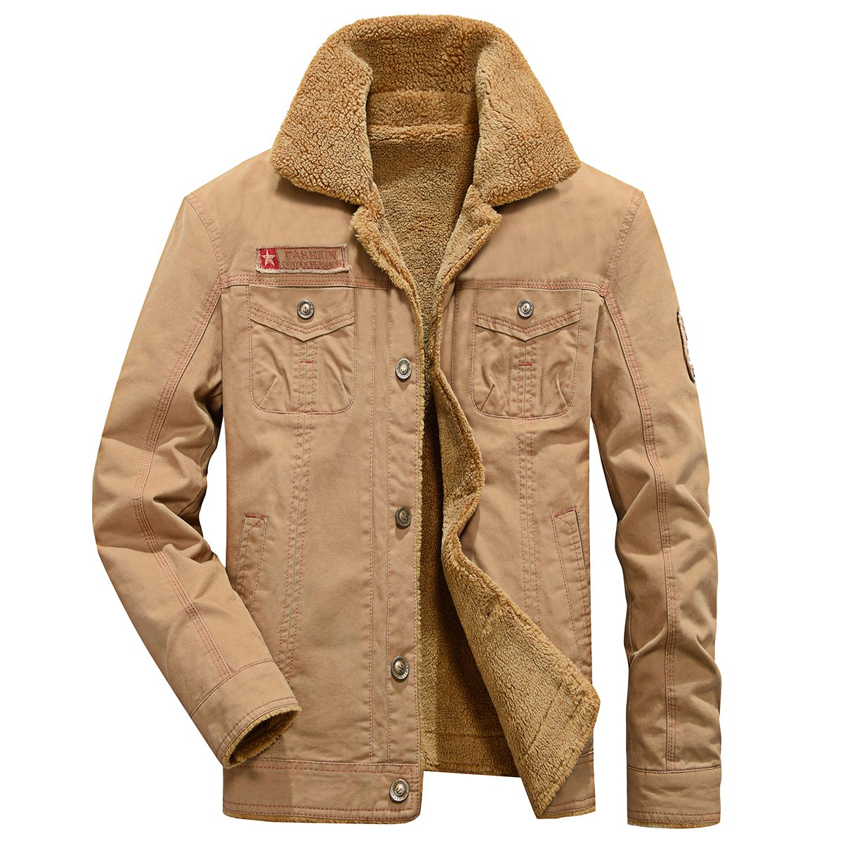 7ecc9e4298f ReFire Gear Men's Winter Warm Wool Lining Military Jacket Casual Cotton  Bomber Coat Outerwear Parka with
