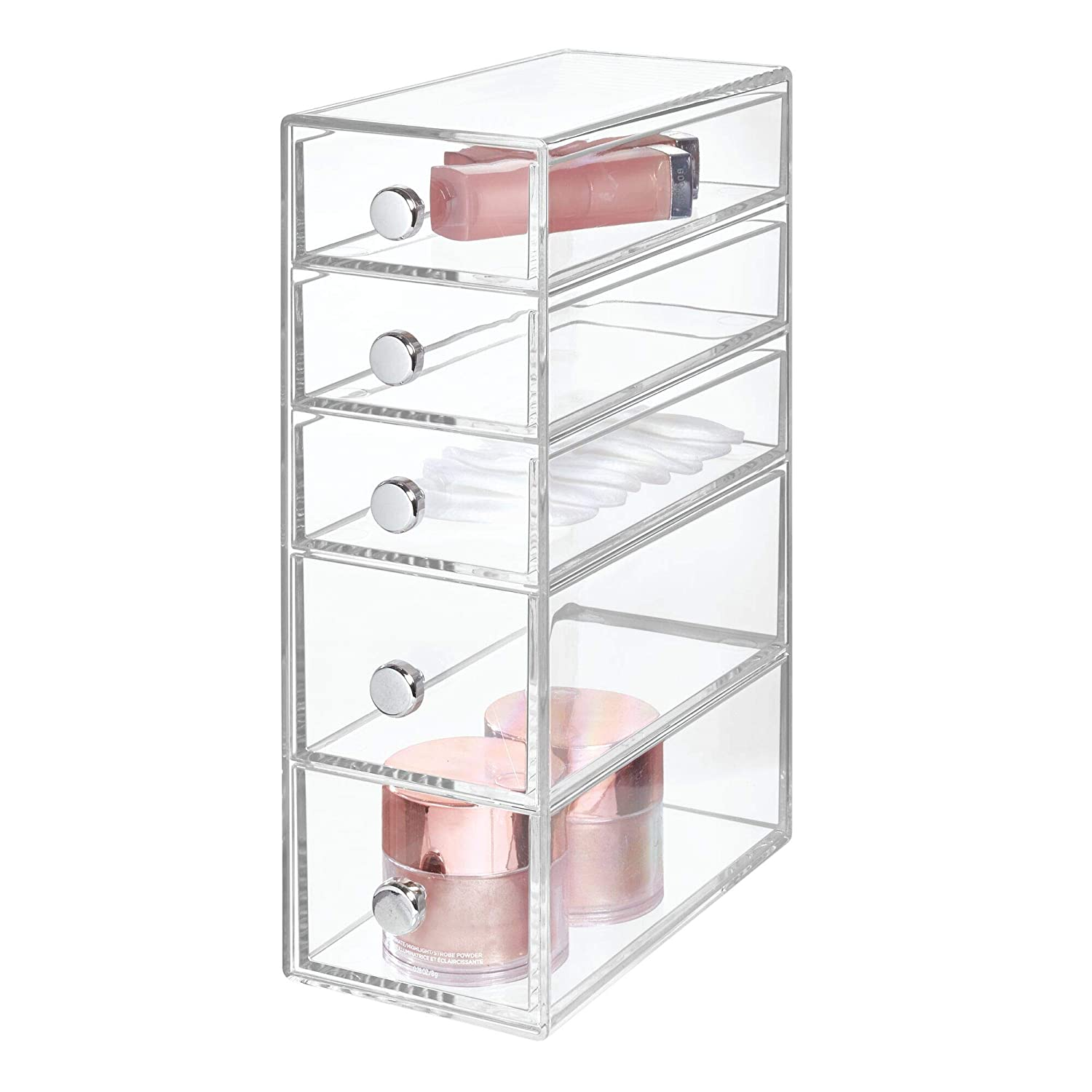 "iDesign Clarity Plastic Cosmetic 5-Drawer Organizer, Jewelry Countertop Organization for Vanity, Bathroom, Bedroom, Desk, Office, 3.5"" x 7"" x 10"", Clear"
