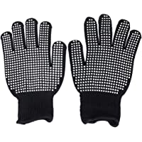 Beaupretty Heat-Resistant Gloves Oven Gloves for Hair Styling Heat Blocking for Curling (Black)