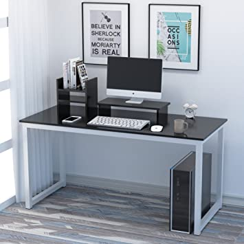 Sensational Computer Desk Add One 1 Office Study Desk Computer Pc Laptop Table Workstation Gaming Table With Monitor Stand And File Shelf For Home Office Black Download Free Architecture Designs Pushbritishbridgeorg
