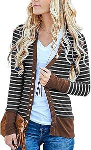 Basic Faith Women's V-Neck Solid Button Tops Long Sleeve...