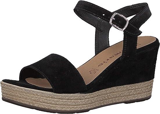 Tamaris Sandales Compensées Femme Noir Chaussures Et Nu
