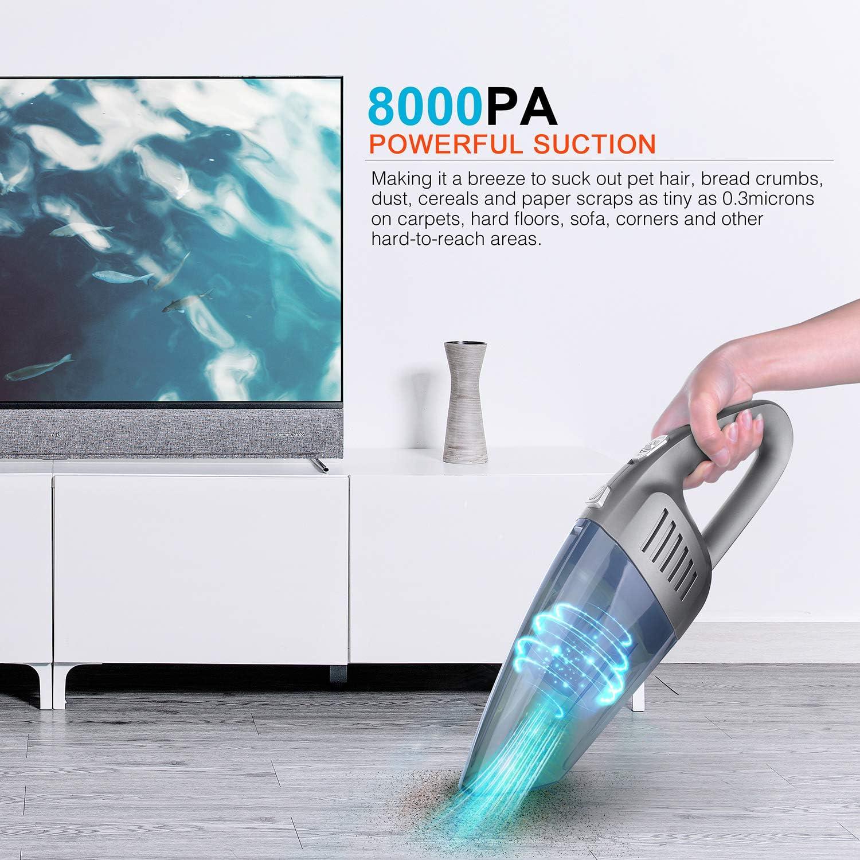 Aspirador de Mano Sin Cable 8000PA Aspirador Mano Sin Cable Potente con Filtro HEPA Lavable para Aspiradoras H/úmedas y Secas para Hogares y Autom/óviles Temfly Aspiradora de Mano