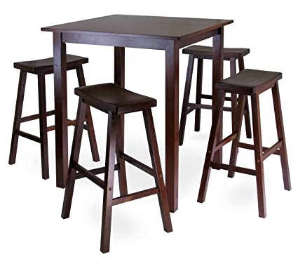 amazon com winsome s parkland 5 piece square high pub table set in