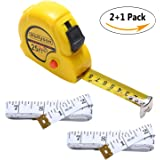 60-Inch Measuring Tape Measures Plus Retractable 25-foot Tape Rule Inch/Metric Measurement Set (yellow,white)