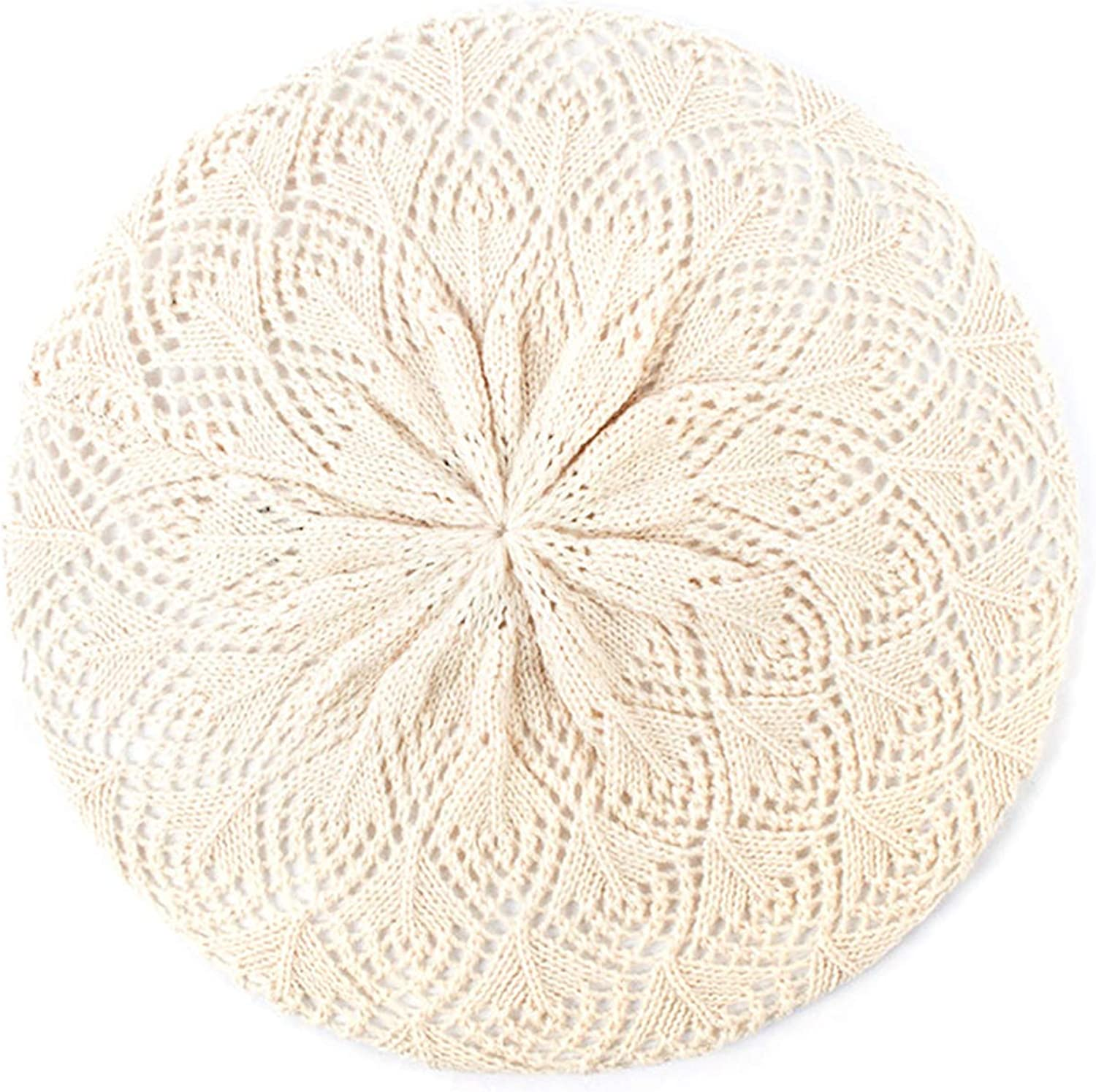 Wilbur Gold Womens Plain Color Knit Beret Hat Thin Acrylic Berets for Women Ladies French Artist Beanie Beret Hats