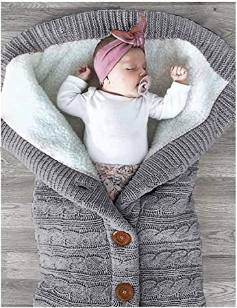 Amazon.com  XMWEALTHY Unisex Infant Swaddle Blankets Soft Thick Fleece Knit  Baby Girls Boys Stroller Wraps Sleeping Sack Grey  Baby 9bdd5873a