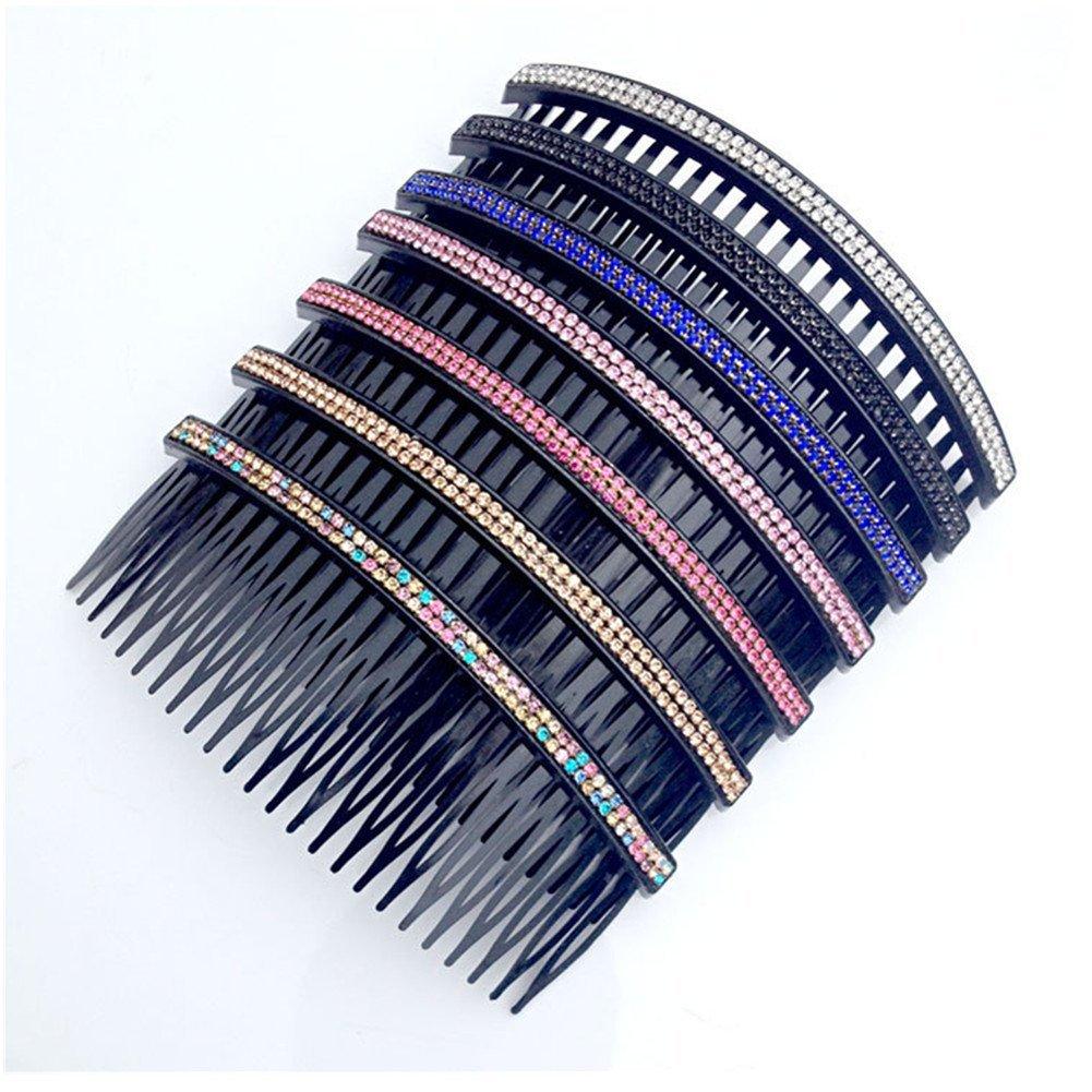 Casualfashion Women 24 Teeth Hair Comb Pin Clip Double Rows Rhinestone Hair Side Combs 4.72 Length, 5-count