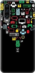 Stylizedd Huawei P30, Slim Snap Basic Case Cover Matte Finish - Convergence, Black