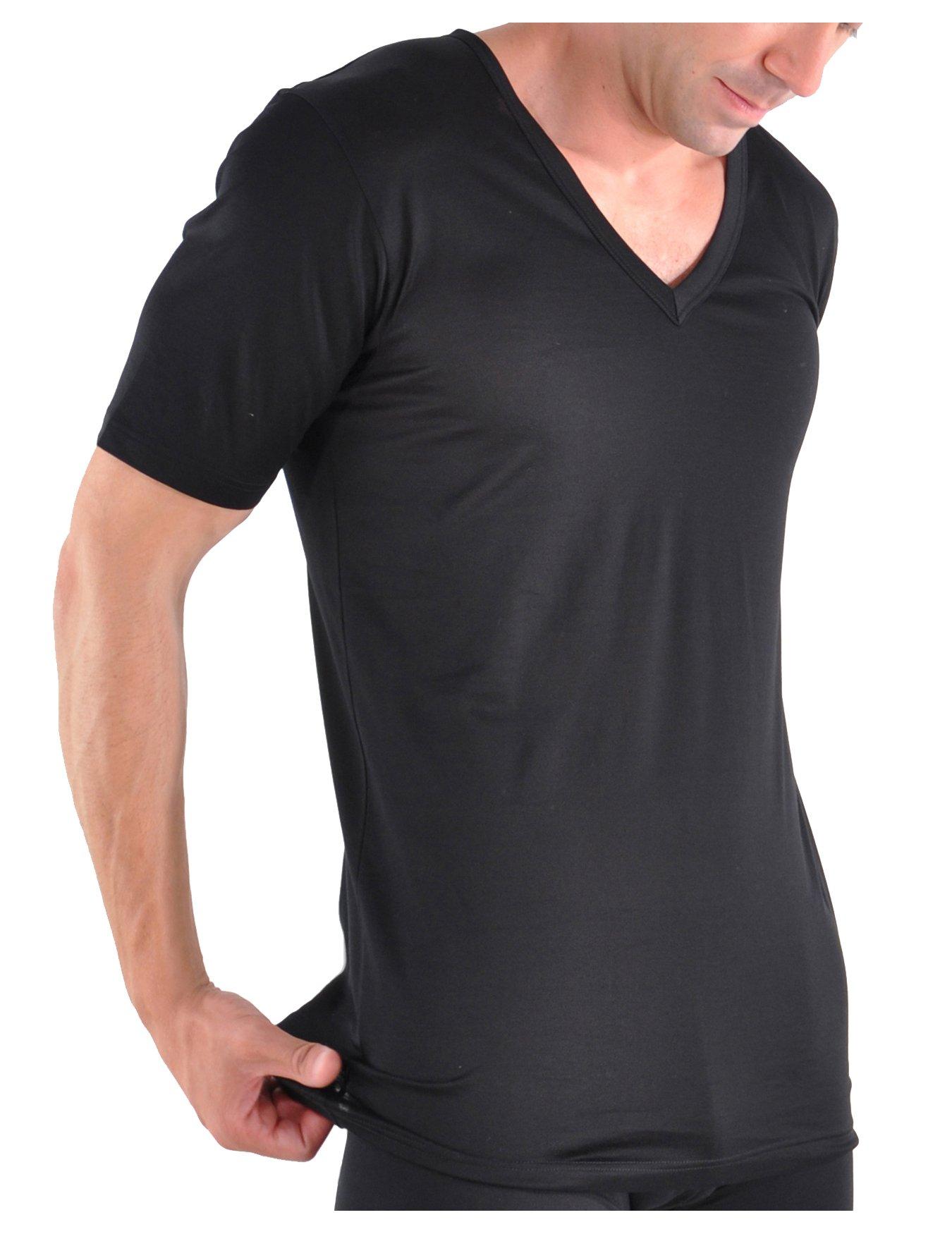 Bresciani Supremo Reale 2x2 Egyptian Cotton Italian-Made V-neck Undershirt Large/Black