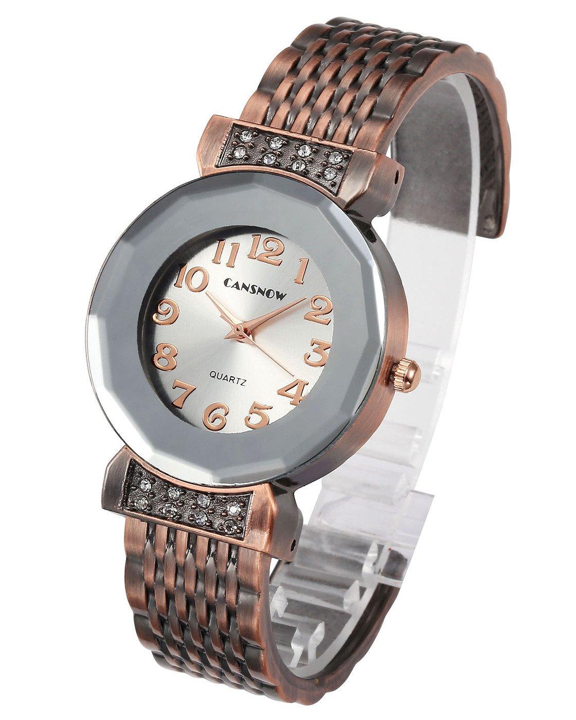 Top Plaza Women Ladies Casual Luxury Gold Bronze Tone Alloy Analog Quartz Bracelet Watch Multilateral Rhombus Dial Rhinestones Decorated Elegant Dress Bangle Cuff Wristwatch-Bronze #1