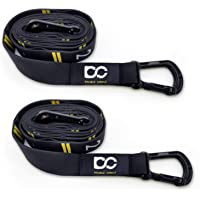 DOUBLE CIRCLE Numbered Straps for Gymnastic Rings and Video Exercises Guide - Carabiner Hook System for Fast Use