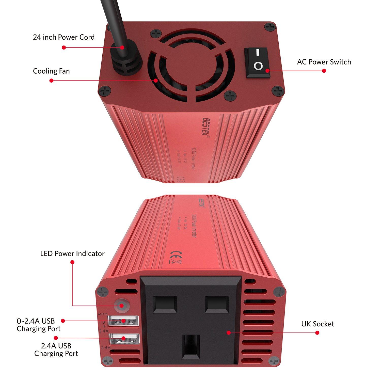 Amazon.es: BESTEK MRI3013J2 - 300W inversor 12V a 220V con crimper ...