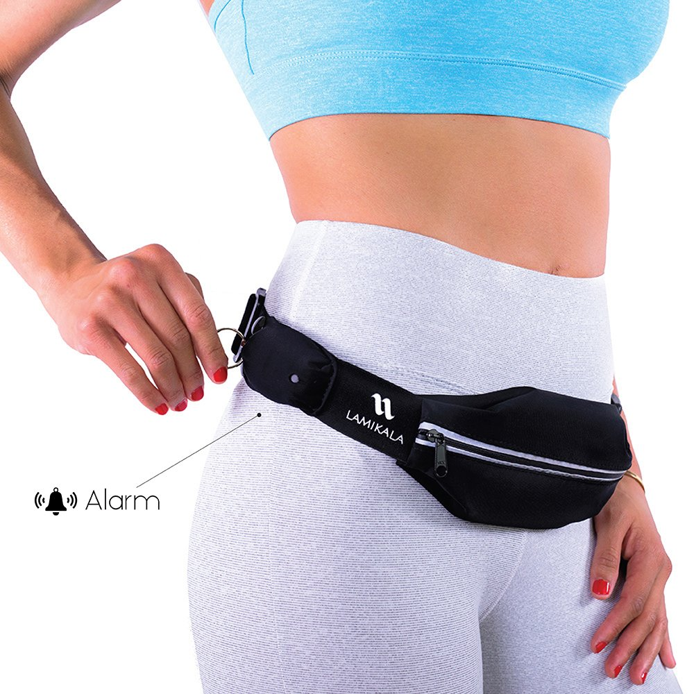 Running Belt with Personal Alarm for Runners Safety Including Flexible and Stretchy Waist Pack for iPhone Smartphone, Keys and Belongings Patent Pending