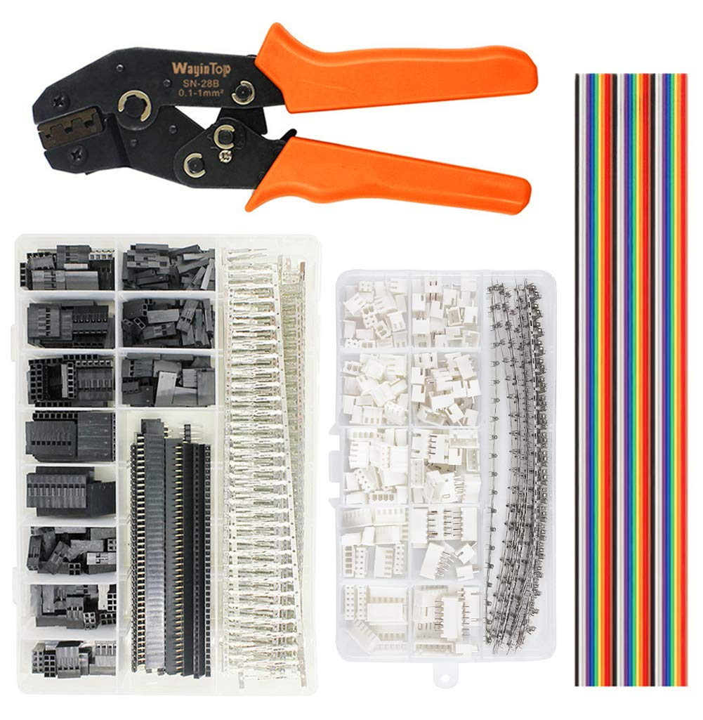 Herramientas Set + JST Conector Kit WayinTop Herramientas JST Conector Kit Pin Crimpadora de 2.54 mm Macho Hembra Terminales Carcasa 1 2 3 4 5 6 8 10 Pin y JST-XH Conector Kit 40Pin Cable 1M