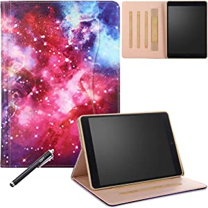 New iPad 9.7 Inch 5th/6th Generation 2018/2017 Case, Premium PU Leather Auto Wake Sleep Folio Cover with Hand Strap for Apple iPad 9.7 2018 2017, iPad Air 2/Air, N-Galaxy