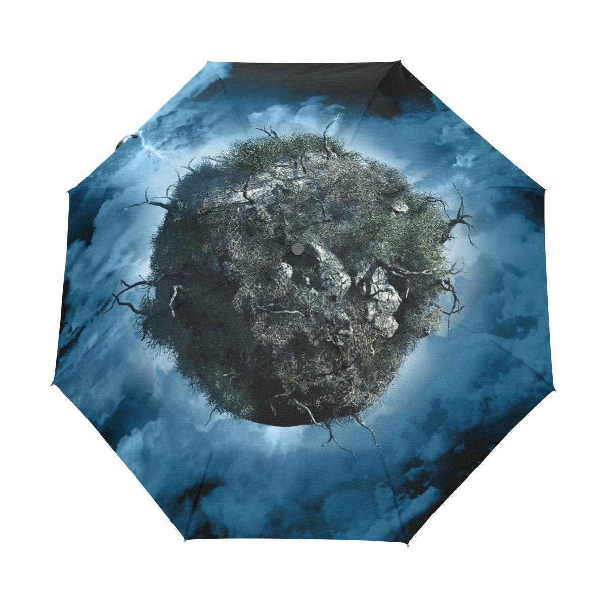 Senya Saobao防風と防雨トラベル傘with自動開いて閉じFolding空と木ポータブル折りたたみ式太陽雨傘 B07FKCFQPY