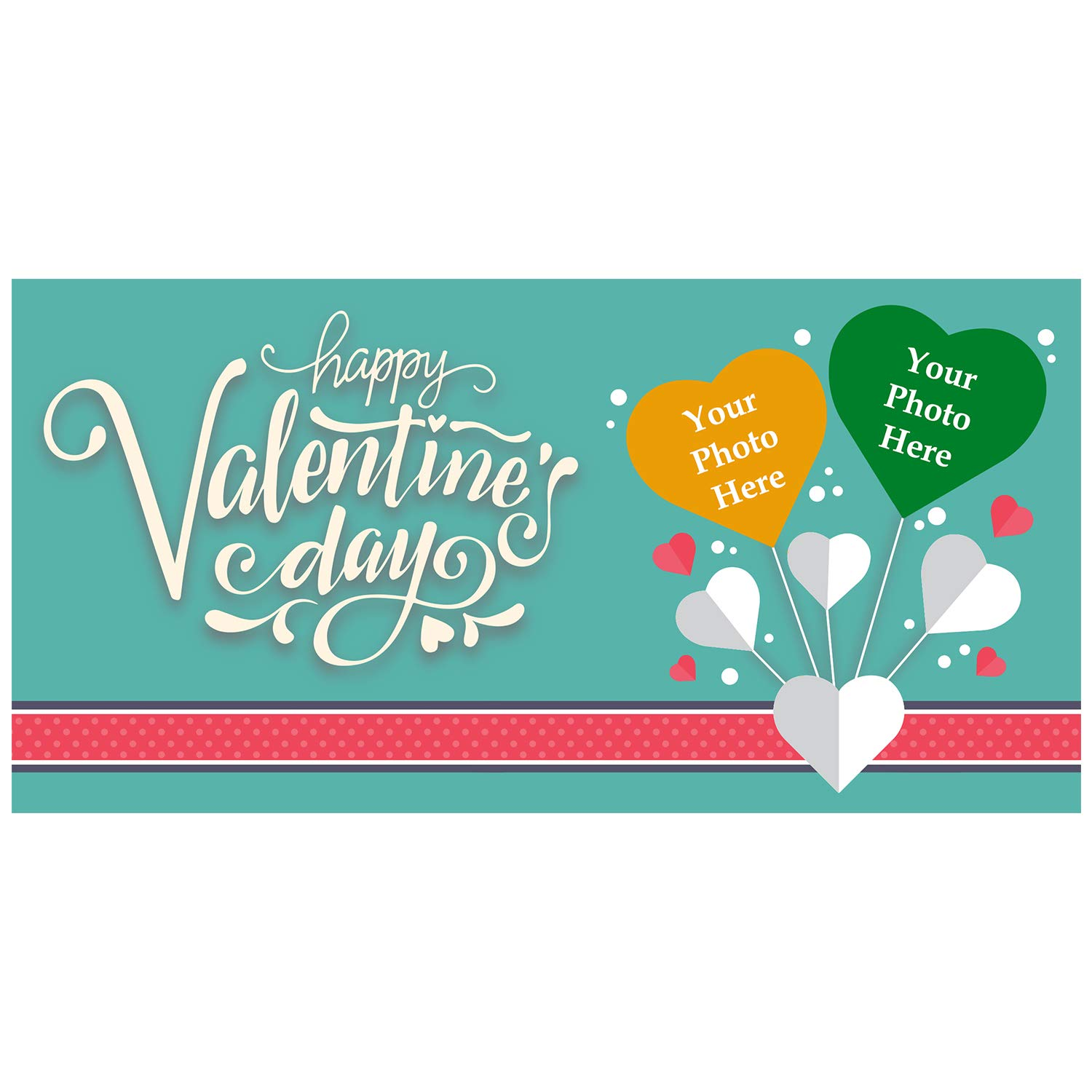 BANNER BUZZ MAKE IT VISIBLE Happy Valentine's Day Custom Magnetic Picture Pocket Frame, Self-Adhesive Pocket Photo Magnets for Refrigerator, Valentine Day Gifts & More (12'' X 24'')