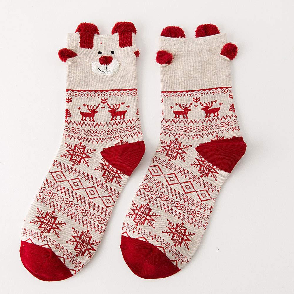 Regalo De Navidad Orejas De AlgodóN Orejas De Oso Orejas De Oso OtoñO Invierno Calcetines Casuales Mejores Ventas Calcetines De Navidad (Estilo 1): ...