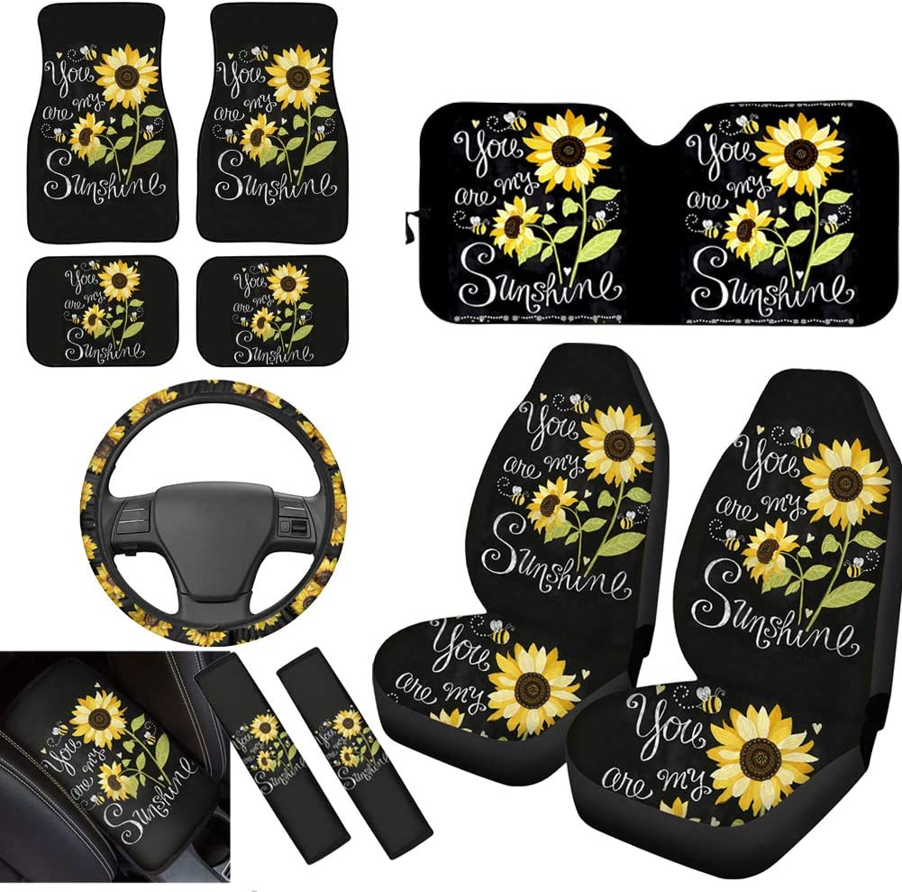 HUISEFOR Sunflower Fashion Car Seat Headrest Cover,Universal Seat Accessiores Pack of 2 Custom Pattern Headrest Cover,Interior Protective Cushion Case Cover