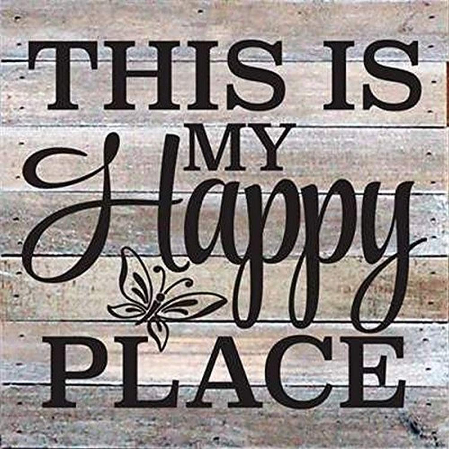 """Artistic Reflections Pallet Art RE1036w This is My Happy Place, 10.5"""" x 10.5"""", White"""
